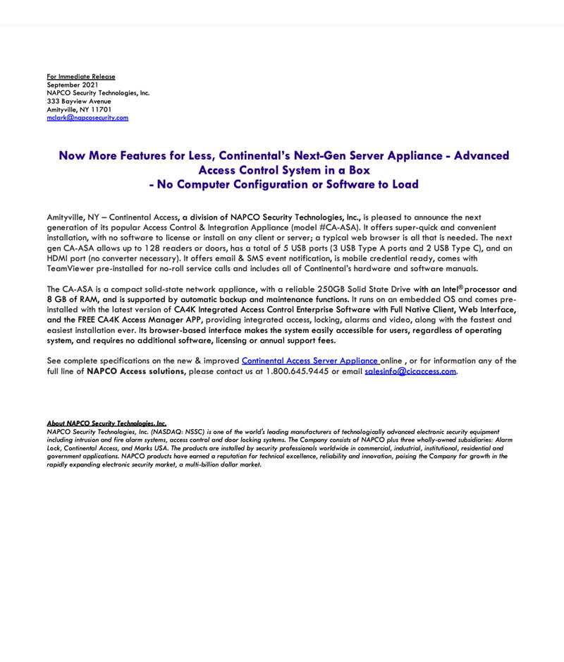 napco-press-release